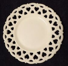 "Vintage Reticulated Opal Milk Glass 7"" Plate Westmoreland 1940s Forget Me Knot"