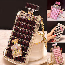 Bling Perfume Bottle Crystal Diamond Wallet Flip Case Cover For iPhone / Samsung