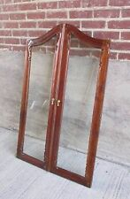 Pair of Vtg. Carved Cherry Cabinet Doors with Beveled Glass