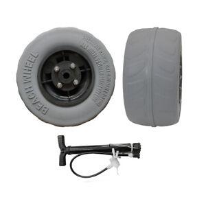 """9"""" Pneumatic PU tires beach wheel balloon wheel cart wheel 2 pcs with a pump"""