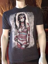 New~sz~M~Riot Society~~Sexy Indian Girl  Tee Mens Charcoal Gray Color Shirt