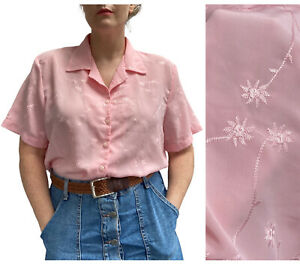 Vintage Blouse 14 16 UK Pink 1980s Embroidered Daisy Top Preppy Pastels Shirt
