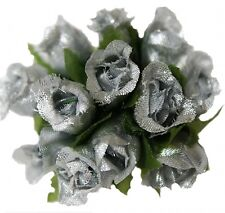 144 Miniature Poly Rose Silk Favor Flower Pick Wedding Shower - Silver