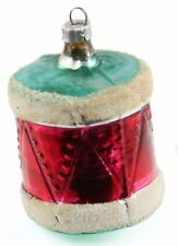 Glass Red Green White Drum Christmas Ornament Holiday Decoration