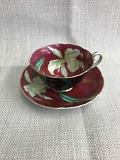 Wako Cup & Saucer Bone China Occupied Japan Black Red Floral