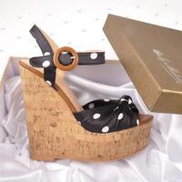 Onlymaker Womens Polka Dot Ankle Strap Wedge Platform Sandals Open Toe Wood Heel