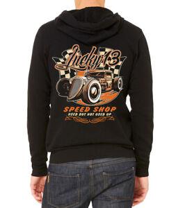 Men's Lucky 13 Speed Shop C9 Black Zipper Hoodie Racing Muscle Car Classic Race
