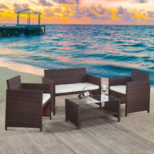 Rattan Garden Furniture Set Dining Chair Clear Glass Table Outdoor Wicker Brown