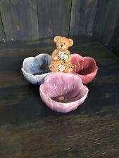 Boyds Bears Home Dip Mix 2004 Flower 3 Bowl Trey blue purple pink
