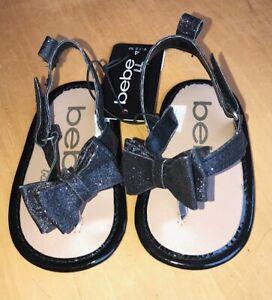 Bebe Baby Girls Black Sparkle Bow Fashion Sandals- MSRP $32