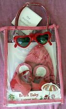 MAYFAIR BEACH BABY 4-PIECE GIFT SET - HAT, SUNGLASSES, SANDALS, TOTE - RED CHECK