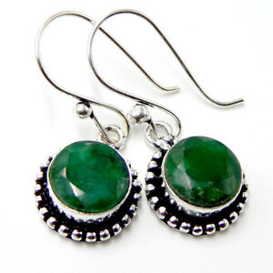 Faceted Emerald 925 Sterling Silver Plated Handmade Jewellery  Earrings 6 Gm-AK4