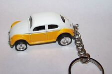 Custom Made.Vw Bug/Beetle (Yellow/White Top) . Keychain.Great Gift!