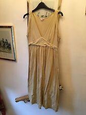 DKNY Jeans Sand 100% Cotton Vintage Look Logo Summer Dress,L