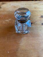 ANTIQUE GLASS BRASS NECK INK WELL