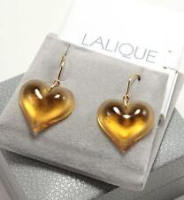 LALIQUE COEUR HEART AMBER TONE CRYSTAL DROP DANGLE GOLD PLATED HOOK EARRINGS