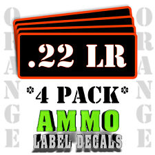 ".22 LR Ammo Label Decals for Ammunition Case 3"" x 1"" Can stickers 4 PACK -OR"