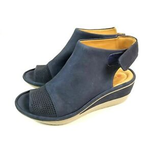 Clarks Blue Suede Open Toe Perforated Open back Ankle Strap Wedge Shoes 8