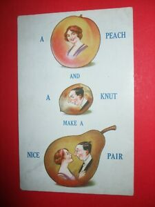 Old BAMFORTH COMIC postcard FRUIT ROMANCE theme PEACH KNUT make a PAIR