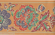 Art Deco Southwest Floral Flower Terracotta Clay Orange Purple Wall paper Border