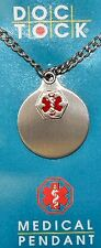 Medical pendant, 24 in chain, Engravable, Stainless steel medical id charm