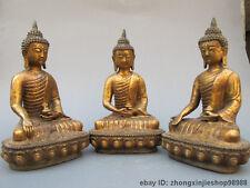 Tibet Buddhism Temple old bronze Three Sakyamuni Buddha statue set