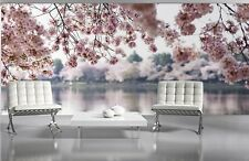 WALLPAPER MURAL PHOTO Pink flowers Lake and trees WALL DECOR PAPER GIANT POSTER