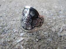 Russian Soviet Silver Niello Ring Flower in Flower stamp 925 sz 7