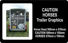 Caution Horses Sticker with horses head, to fit ifor williams trailer or similar