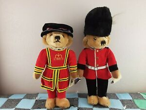 """2 Vintage Merrythought British 17"""" Beefeater Guard Teddy Bears England"""