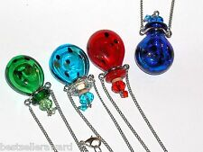1pc Large Glass GREEN oil ashes urn bottle cork pendant vial Necklace New*