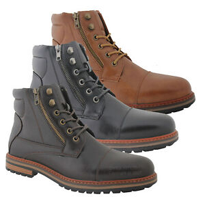 MENS SMART WALKING LACE UP MILITARY ARMY BIKER DESERT WORK ANKLE BOOTS SHOES SZ