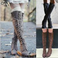Damen Blockabsatz Stiefel Runde Schnürsenkel Faux-Wildleder Schuhe Kniehohe Boot
