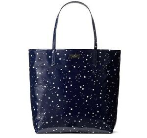 Kate Spade New York Blue Bon Shopper Daycation Stars Night Sky Tote Bag NWT
