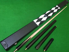 New 3/4 Handmade Ash Plain Black Ebony Snooker Cue Pool Cue 8.5mm Tip Small Tip