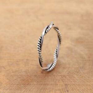 925 Sterling Silver Twisted Braided Rope Band Ring Plain Pure Silver
