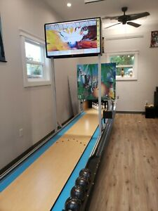 Mini Bowling lane by Ball Bowler has free fall pins for your game room arcade!!!