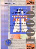 Deutsche Autobahn Scherz Aktie 1993 Kamener Kreuz Geschenk Überraschung Jux