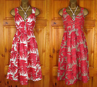 NEW MONSOON RED IVORY WHITE BROWN FLORAL COTTON SUMMER SUN HOLIDAY BEACH DRESS