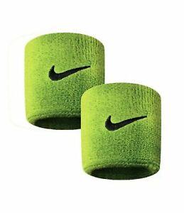 Nike Unisex Wristband Swoosh Logo Sweatband Green Cuffs Tennis Absorbent - PAIR