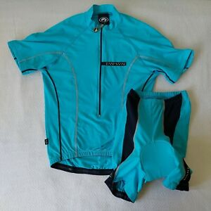 Parentini Bike Wear Cycling Two Piece Ridings Suit. Half Zip Top & Padded Shorts