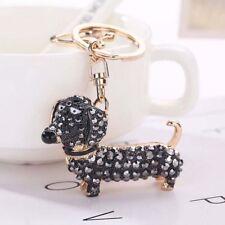 Charm Crystal Dog Dachshund Keychain Pom Gift Women Girl Bag Charm Pendant Key
