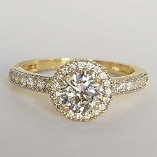 1.20 carat 14k solid Yellow Gold round Halo Engagement Ring size 5 6 7 8 9