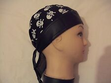 New Black with Medium Size Skulls and X Bones PU &Cotton Shaped Bandana/Zandana