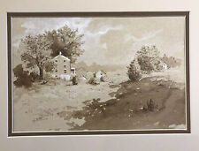 John Brandon Sills Watercolor and ink drawing 1990 Noted Maryland Artist House