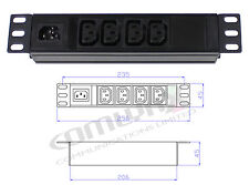"10"" 4 Way IEC Detachable Power Distribution Box Unit Splitter PDU Data Rack"
