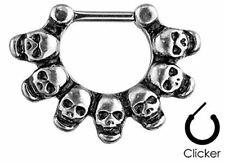 Body Accentz Linked Skulls 316L Surgical Steel Septum Clicker Ring 16g