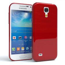 Schutz Hülle für Samsung Galaxy S4 Mini Brushed Cover Handy Case Rot