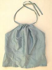 Lilly Pulitzer women's sz S Pale Blue raw silk cropped halter top side zip  EUC