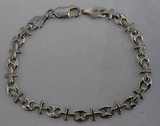Sterling Silver Anchor And Cross Link Bracelet